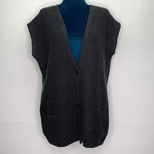 AKRIS Sweater Vest Size 8 Knit Cashmere Blend Gray
